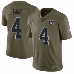 Youth Las Vegas Raiders 4 Derek Carr 2017 Green Salute To Service Limited Jersey