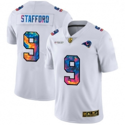 Men Los Angeles Rams 9 Matthew Stafford Men White Nike Multi Color 2020 NFL Crucial Catch Limited NFL Jersey