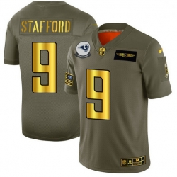 Men Los Angeles Rams 9 Matthew Stafford NFL Men Nike Olive Gold 2019 Salute to Service Limited Jersey