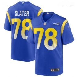 Men Nike Jackie Slater 78 Royal Los Angeles Rams Game Retired Player Jersey