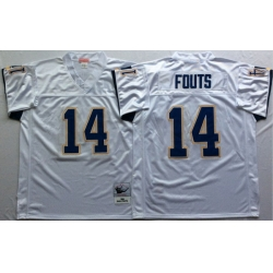 Men Los Angeles Chargers 14 Dan Fouts White M&N Throwback Jersey