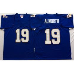 Men Los Angeles Chargers 19 Lance Alworth Blue M&N Throwback Jersey