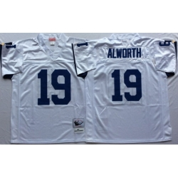 Men Los Angeles Chargers 19 Lance Alworth White M&N Throwback Jersey