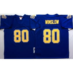Men Los Angeles Chargers 80 Kellen Winslow Blue M&N Throwback Jersey