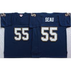 Men Nike Los Angeles Chargers 55 Junior Seau Navy M&N Throwback Jersey