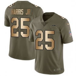 Nike Chargers 25 Chris Harris Jr Olive Gold Men Stitched NFL Limited 2017 Salute To Service Jersey