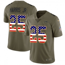 Nike Chargers 25 Chris Harris Jr Olive USA Flag Men Stitched NFL Limited 2017 Salute To Service Jersey