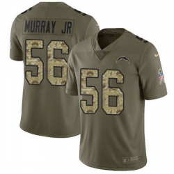Nike Chargers 56 Kenneth Murray Jr Olive Camo Men Stitched NFL Limited 2017 Salute To Service Jersey