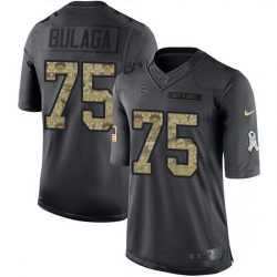 Nike Chargers 75 Bryan Bulaga Black Men Stitched NFL Limited 2016 Salute to Service Jersey