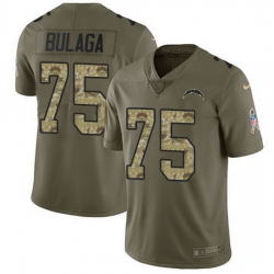 Nike Chargers 75 Bryan Bulaga Olive Camo Men Stitched NFL Limited 2017 Salute To Service Jersey
