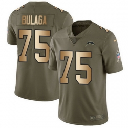 Nike Chargers 75 Bryan Bulaga Olive Gold Men Stitched NFL Limited 2017 Salute To Service Jersey