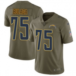 Nike Chargers 75 Bryan Bulaga Olive Men Stitched NFL Limited 2017 Salute To Service Jersey