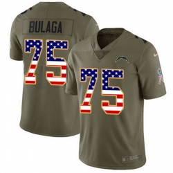 Nike Chargers 75 Bryan Bulaga Olive USA Flag Men Stitched NFL Limited 2017 Salute To Service Jersey
