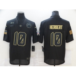 Nike Los Angeles Chargers 10 Justin Herbert Black 2020 Salute To Service Limited Jersey