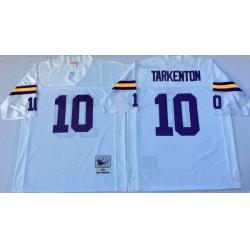 Men Minnesota Vikings 10 Fran Tarkenton White M&N Throwback Jersey