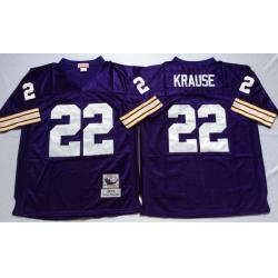 Men Minnesota Vikings 22 Paul Krause Purple M&N Throwback Jersey