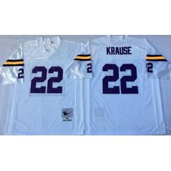 Men Minnesota Vikings 22 Paul Krause White M&N Throwback Jersey