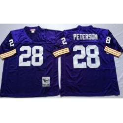 Men Minnesota Vikings 28 Adrian Peterson Purple M&N Throwback Jersey