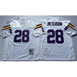 Men Minnesota Vikings 28 Adrian Peterson White M&N Throwback Jersey