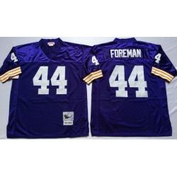 Men Minnesota Vikings 44 Chuck Foreman Purple M&N Throwback Jersey