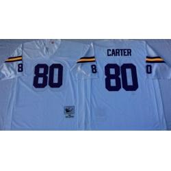 Men Minnesota Vikings 80 Cris Carter White M&N Throwback Jersey