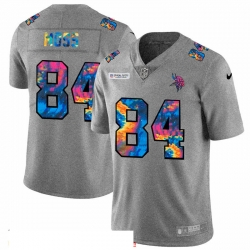 Men Minnesota Vikings 84 Randy Moss Men Nike Multi Color 2020 NFL Crucial Catch NFL Jersey Greyheather