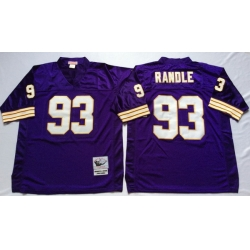 Men Minnesota Vikings 93 John Randle Purple M&N Throwback Jersey