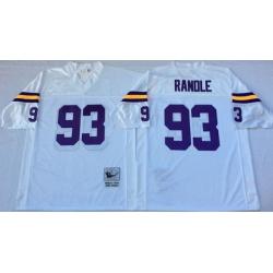 Men Minnesota Vikings 93 John Randle White M&N Throwback Jersey