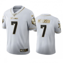 Minnesota Vikings 7 Patrick Peterson Men Nike White Golden Edition Vapor Limited NFL 100 Jersey