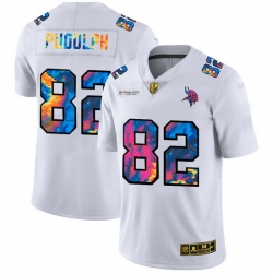 Minnesota Vikings 82 Kyle Rudolph Men White Nike Multi Color 2020 NFL Crucial Catch Limited NFL Jersey