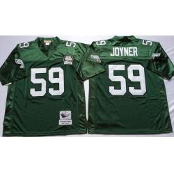 Men Philadelphia Eagles 59 Seth Joyner Green M&N Throwback Jersey