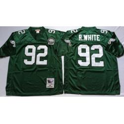 Men Philadelphia Eagles 92 Reggie White Green M&N Throwback Jersey