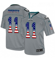 Mens Nike Philadelphia Eagles 11 Carson Wentz Elite Grey USA Flag Fashion NFL Jersey