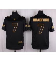 Nike Eagles #7 Sam Bradford Black Mens Stitched NFL Elite Pro Line Gold Collection Jersey