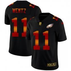 Philadelphia Eagles 11 Carson Wentz Men Black Nike Red Orange Stripe Vapor Limited NFL Jersey