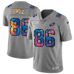 Philadelphia Eagles 86 Zach Ertz Men Nike Multi Color 2020 NFL Crucial Catch NFL Jersey Greyheather