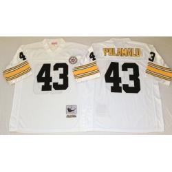 Men Pittsburgh Steelers 43 Troy Polamalu White M&N Throwback Jersey