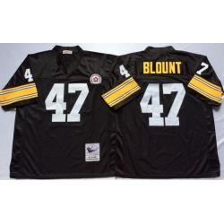 Men Pittsburgh Steelers 47 Mel Blount Black M&N Throwback Jersey
