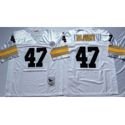 Men Pittsburgh Steelers 47 Mel Blount White M&N Throwback Jersey