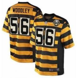 Men Pittsburgh Steelers 56 Lamarr Woodley Yellow Black 80 Season PatchThrowback Jersey