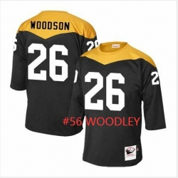 Men Pittsburgh Steelers 56 Lamarr Woodley Yellow Black Throwback Jersey