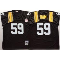 Men Pittsburgh Steelers 59 Jack Ham Black M&N Throwback Jersey