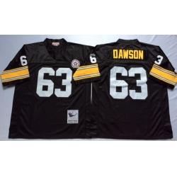 Men Pittsburgh Steelers 63 Dermontti Dawson Black M&N Throwback Jersey
