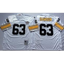 Men Pittsburgh Steelers 63 Dermontti Dawson White M&N Throwback Jersey