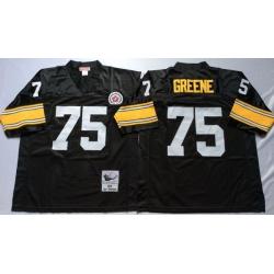 Men Pittsburgh Steelers 75 Joe Greene Black M&N Throwback Jersey