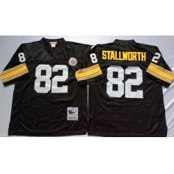 Men Pittsburgh Steelers 82 John Stallworth Black M&N Throwback Jersey