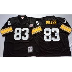 Men Pittsburgh Steelers 83 Heath Miller Black M&N Throwback Jersey