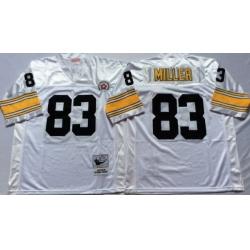 Men Pittsburgh Steelers 83 Heath Miller White M&N Throwback Jersey