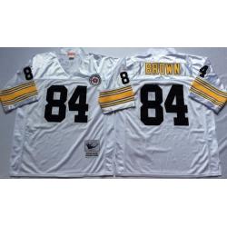 Men Pittsburgh Steelers 84 Antonio Brown White M&N Throwback Jersey