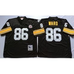 Men Pittsburgh Steelers 86 Hines Ward Black M&N Throwback Jersey